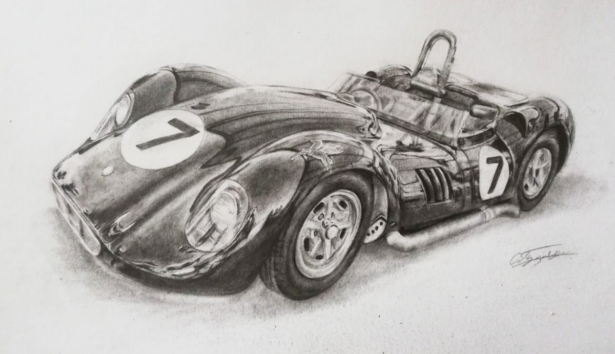 1958 Lister-Chevrolet 'Knobbly' car drawing at Goodwood Revival